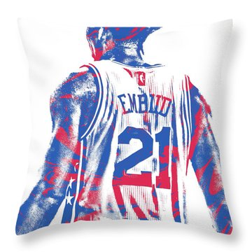 Joel Embiid Philadelphia Sixers Pixel Art 11 Throw Pillow