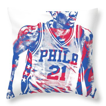 Joel Embiid Philadelphia Sixers Pixel Art 12 Throw Pillow