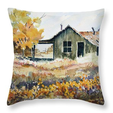 Throw Pillow featuring the painting Joe's Place II by Sam Sidders