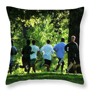 Joggers In The Park Throw Pillow by Susan Savad