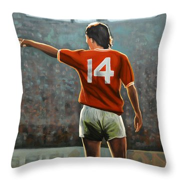 Johan Cruyff Oranje Nr 14 Throw Pillow by Paul Meijering