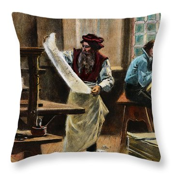 Johann Gutenberg Throw Pillow by Granger