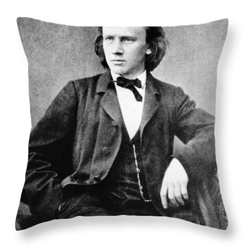 Johannes Brahms, German Composer Throw Pillow by Omikron