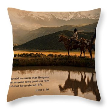 Throw Pillow featuring the photograph John 3 16 Scripture And Picture by Ken Smith