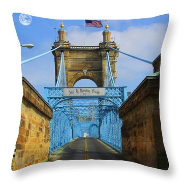 John A. Roebling Suspension Bridge Throw Pillow