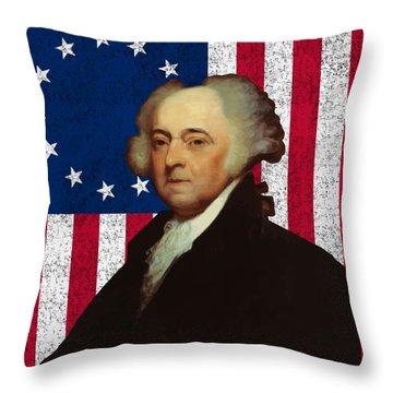 John Adams And The American Flag Throw Pillow