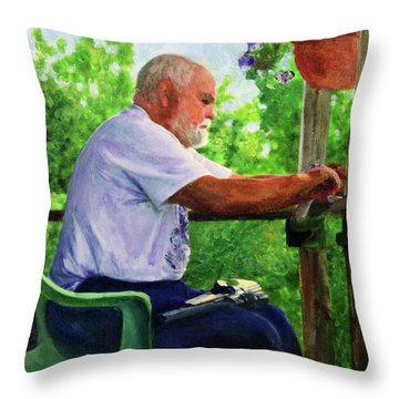 John Cleaning The Rifle Throw Pillow by Donna Walsh