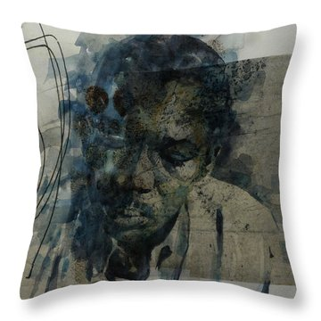 Throw Pillow featuring the mixed media John Coltrane / Retro by Paul Lovering