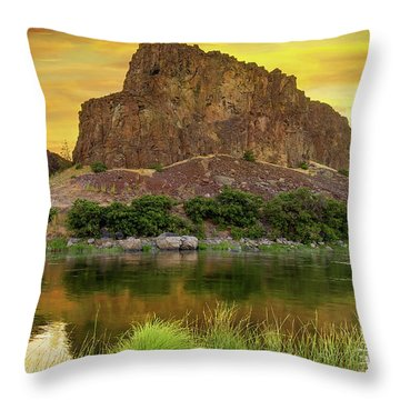John Day River At Sunrise Throw Pillow by David Gn