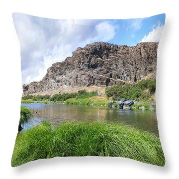 John Day River Landscape In Summer Portrait Throw Pillow