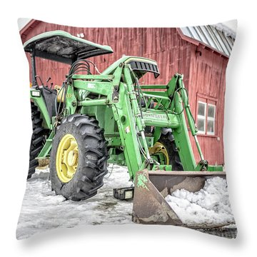 Throw Pillow featuring the photograph John Deere 640 Farm Tractor by Edward Fielding