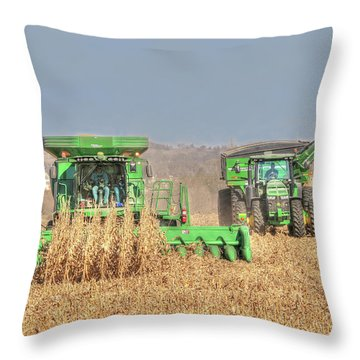 John Deere Combine Picking Corn Followed By Tractor And Grain Cart Throw Pillow
