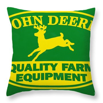 John Deere Farm Equipment Sign Throw Pillow by Randy Steele