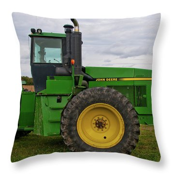 Throw Pillow featuring the photograph John Deere Green 3159 by Guy Whiteley