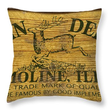 John Deere Sign Throw Pillow by WB Johnston