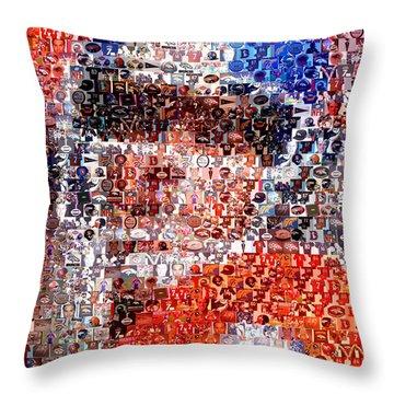 John Elway Mosaic Throw Pillow by Paul Van Scott