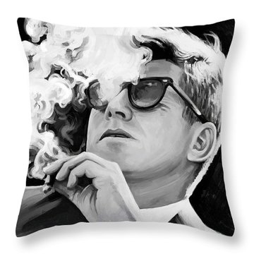 Throw Pillow featuring the painting John F. Kennedy Artwork 1 by Sheraz A