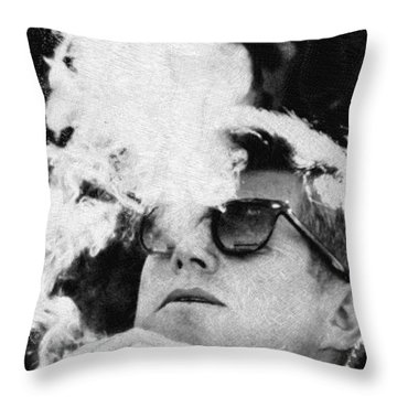 John F Kennedy Cigar And Sunglasses Black And White Throw Pillow