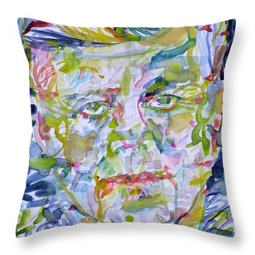 Throw Pillow featuring the painting John F. Kennedy - Watercolor Portrait.2 by Fabrizio Cassetta