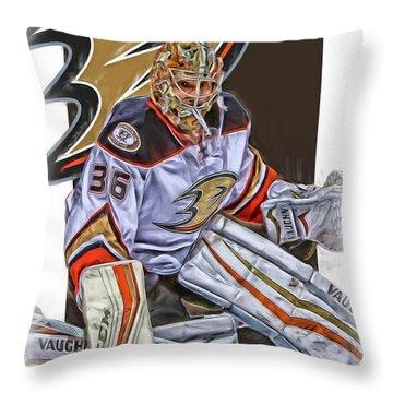 John Gibson Anaheim Ducks Oil Art Throw Pillow