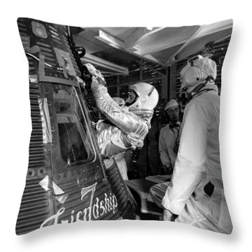 John Glenn Entering Friendship 7 Spacecraft Throw Pillow by War Is Hell Store