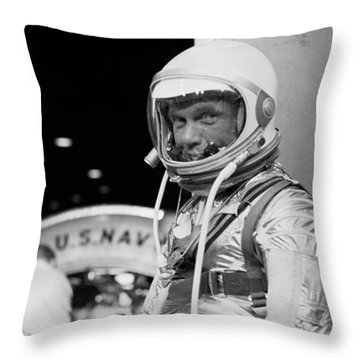 John Glenn Wearing A Space Suit Throw Pillow by War Is Hell Store