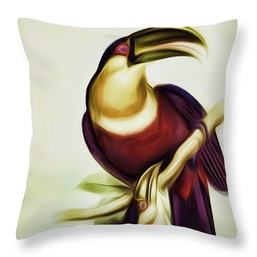 John Gould And Edward Lear Family Of Toucans Interpreted Throw Pillow