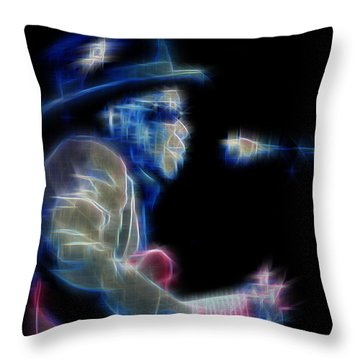 Throw Pillow featuring the digital art John Lee Hooker by Kenneth Armand Johnson