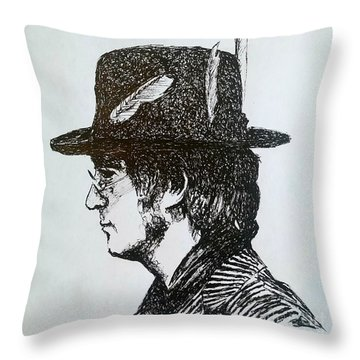 John Lennon Throw Pillow