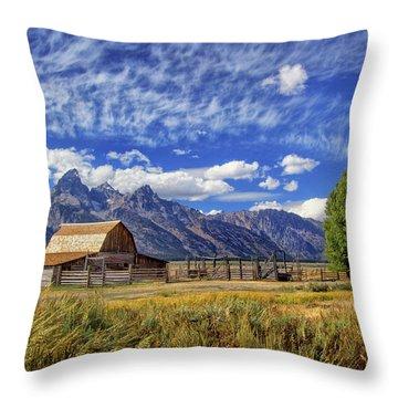 John Moulton Barn In The Tetons Throw Pillow