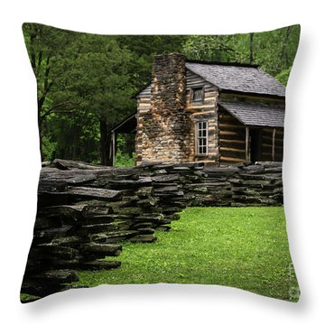 Throw Pillow featuring the photograph John Oliver Cabin by Andrea Silies