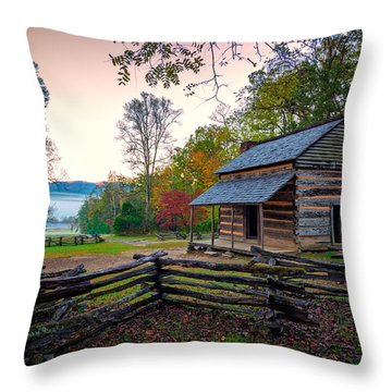 John Oliver Place In Cades Cove Throw Pillow