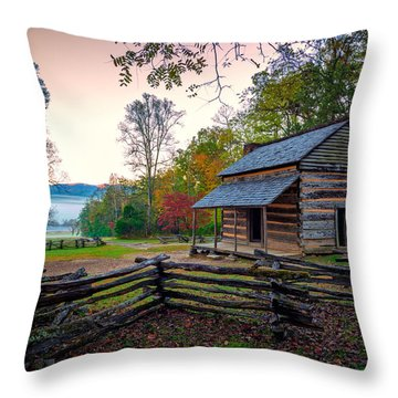 John Oliver Place In Cades Cove Throw Pillow by Rick Berk