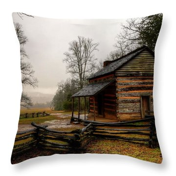 John Oliver's Cabin In Cades Cove Throw Pillow