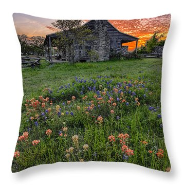 John P Coles Cabin And Spring Wildflowers At Independence - Old Baylor Park Brenham Texas Throw Pillow