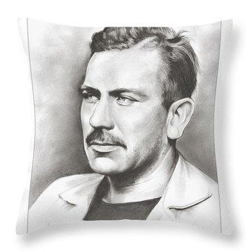 John Steinbeck Throw Pillow by Greg Joens
