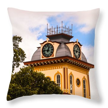 John W. Hargis Hall Clock Tower Throw Pillow