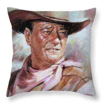 John Wayn Throw Pillow by Ylli Haruni