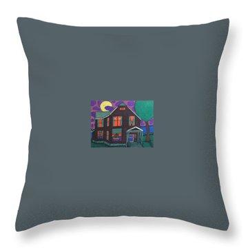 Throw Pillow featuring the painting John Wells Home. by Jonathon Hansen