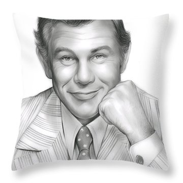 Johnny Carson Throw Pillow by Greg Joens