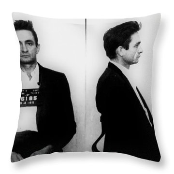 Johnny Cash Mug Shot Horizontal Throw Pillow