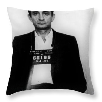 Johnny Cash Mug Shot Vertical Throw Pillow
