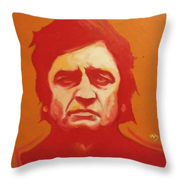 Johnny Cash Orange Throw Pillow