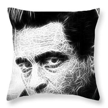 Johnny Cash Throw Pillow by Paul Van Scott