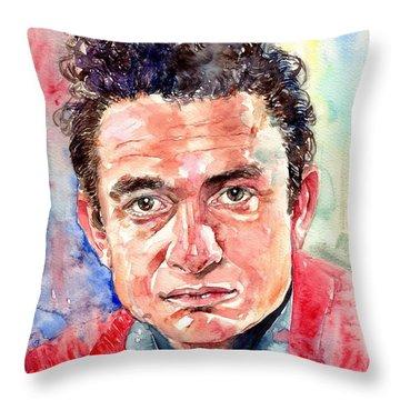 Johnny Cash Portrait Throw Pillow