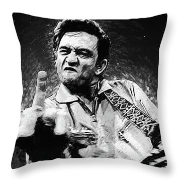 Johnny Cash Throw Pillow by Taylan Apukovska