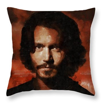 Johnny Depp, Hollywood Legend By Mary Bassett Throw Pillow by Mary Bassett