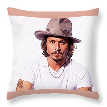 Johnny Depp Throw Pillow by Iguanna Espinosa