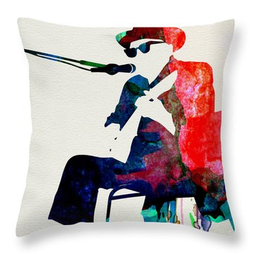 Johnny Lee Hooker Watercolor Throw Pillow