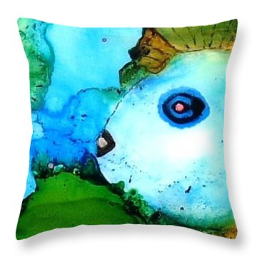 Johnny The Rocker Fish Throw Pillow by Annie StMartin